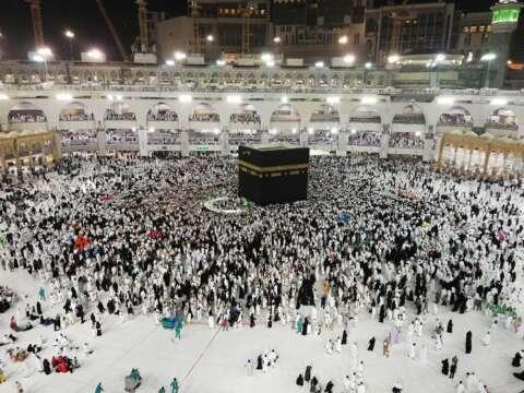 muslim people visiting kaaba sacred site